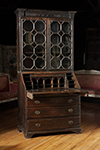 irish oak bureau bookcase with glass doors