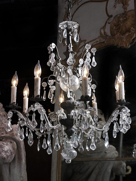 french eight arm beaded and crystal chandelier