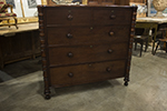 english mahogany chest with spiral column corners and shaped top