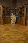 pair of english painted concave bookcases