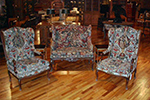 english needlepoint sofa and two chairs