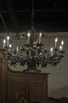 pair of painted and silver tole flower chandelier