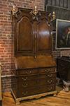 heavily restored walnut bonnet top bureau bookcase