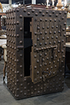 medium size steel hobnail safe with heavy riveting from northern italian