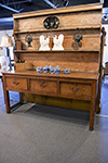 english pine dresser with three frieze drawers and plate shelves