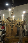 english brass six arm chandelier