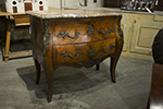 french louis xv-style kingswood 19th century marble top bombe chest with two drawers and ormolu pulls