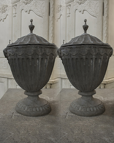 pair of english 19th century neoclassical lead garden urns in the manner of robert adam