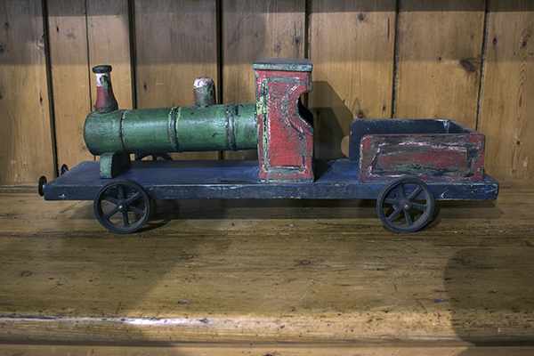 wooden painted toy train