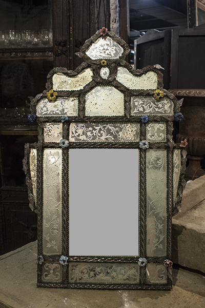 venetian mirror with floral attachments