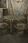 iron round garden table