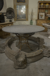 granite top round table with metal pedestal