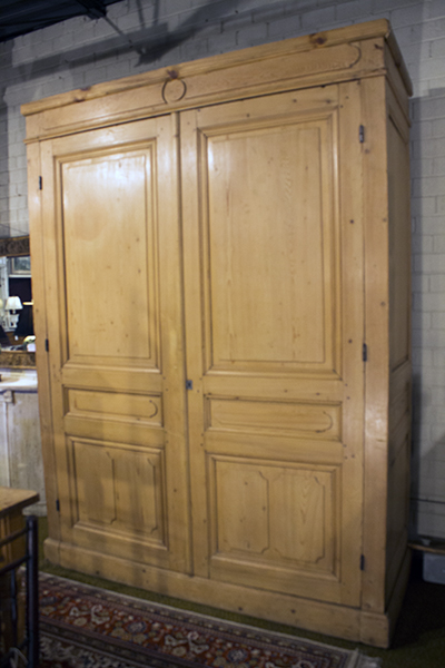 pine armoire with panel doors