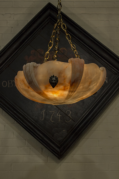 french alabaster plafonnier chandelier beautifully carved with a bronze chain and canopy.