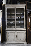 french painted 19th century buffet a'deux corps \ biblioth�que