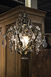 french six arm chandelier with crystal grape cluster