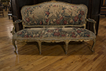 louis xv painted and gilded sofa with carved frame and is aubussion tapestry