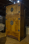 ming camphor wood cabinet, features a companion top chest and original hardware.