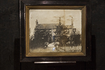 english oil of house with photo