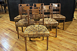 set of six regency side chairs with tufted leather seats