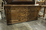 english oak dresser base with five drawers and two doors, double pulls