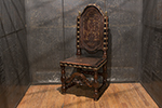 italian walnut and embossed leather armchair