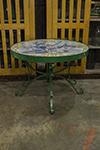 italian faince tiled top table with iron base