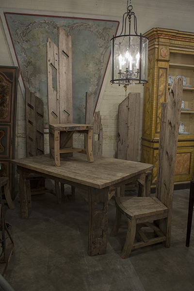english driftwood table and six chairs