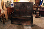 english oak settle from an old english tavern, storage below seat