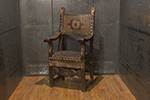 italian walnut & leather armchair with parcel gilt