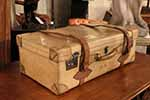 french vellum trunk it has a beautiful patina and can be used for travel as well as a very elegant piece of decoration its interior is all original