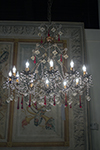 french crystal chandelier with red accent crystals