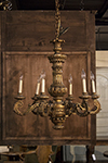 french six-arm carved giltwood chandelier