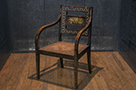 english regency painted armchair of unique form. original cane seat