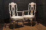 pair of italian white washed chairs