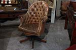 english  brown leather chesterfield swivel button back library office chair