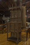 italian heavily carved gothic wall cabinet with storage door