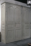 french painted double armoire with paneled doors exposed hinges and crown molding