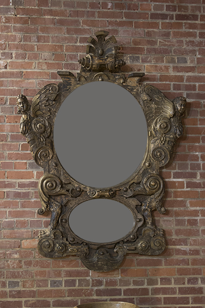 italian walnut carved mirror