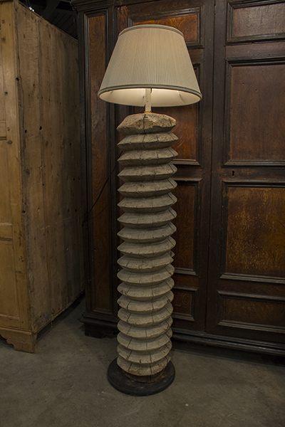 column lamp made from a french wine press screw