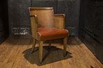 flemish armchair with barrel back and leather sat