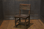 17th century english side chair with leather seat & back, nailhead trim