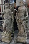 pair of french stone statues on bases