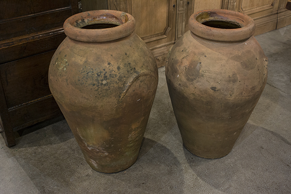 pair of italian terracotta olive pots