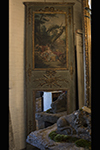 french painted trumeau mirror with gilded applique