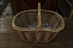 english wicker basket with crystal decanter stoppers