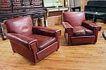 pair of french red leather chairs