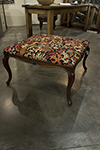 french stool with moulded frame with foliante carvings at center