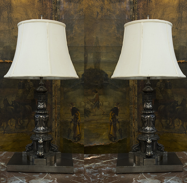 pair of french polished iron column lamps