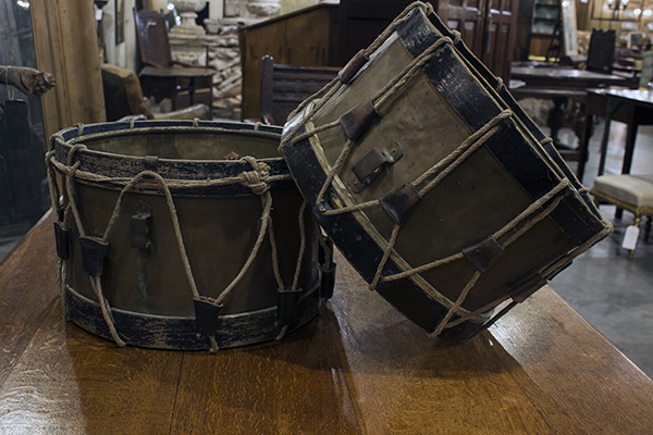 pair of french painted drums